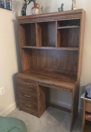 Desk- wood with three drawers and hutch for Sale in Manassas, VA