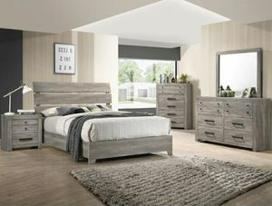 "Rustic style Bedroom set Queen bed +Nightstand +Dresser +Mirror ""Mattress &Chest not included "" for Sale in Buena Park, CA"