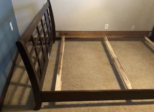 Beautiful queen sized dark solid heavy wood bed frame, very nice!quality mattress option al! for Sale in Tualatin, OR