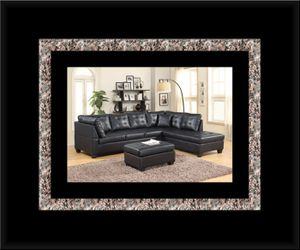 Black sectional with ottoman for Sale in Ashburn, VA