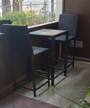 Rattan Patio Set: 2 high chairs + table for Sale in Sunnyvale, CA