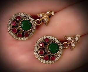 EMERALD PIGEON BLOOD RED RUBY EARRINGS Solid 925 Sterling Silver/Gold WOW! Brilliantly Faceted Round Cut Gems, Diamond Topaz M5450 V for Sale in San Diego, CA
