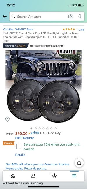7 inch Round black led Jeep Jk,Tj,Lj, Cj headlights for Sale in Tampa, FL