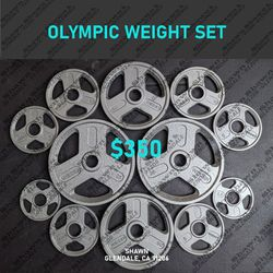 WEIDER OLYMPIC WEIGHT SET- 165 LBS (2× 35LBS - 2× 25LBS - 2× 10LBS - 4× 5LBS - 2× 2.5LBS) for Sale in Glendale,  CA