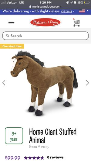 Melissa and Doug horse: Horse Giant Stuffed Animal. Brown. for Sale in Grand Prairie, TX
