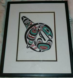 """""""killer whale"""" litho signed by artist Joe Wilson framed $15 for Sale in Oklahoma City, OK"""