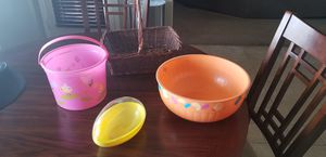 Easter Baskets, Bowl, and Giant Egg for Sale in Rancho Cucamonga, CA