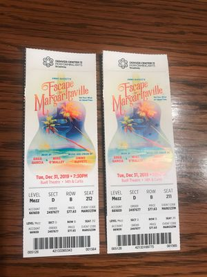 2 CHEAP TICKETS TO DOWNTOWN MUSICAL PERFORMANCE OF JIMMY BUFFETS ESCAPE TO MARGARITAVILLE for Sale in Denver, CO