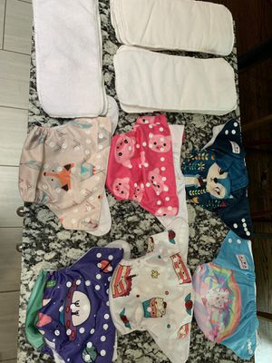 Cloth Diaper- Set of 6 Alva Baby printed cloth diaper with 11 white insertsv for Sale in Des Plaines, IL
