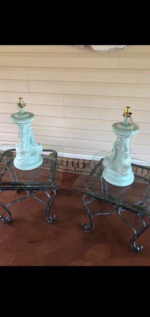 2 HEAVY aqua colored koi Fish lamps. No shades for Sale in Stockbridge, GA