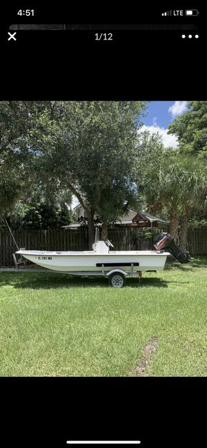 16' skiff boat 40 hp Mercury and trailer for Sale in Brandon, FL