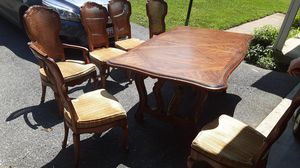 Antique Table and chair set, 6 Chairs with cane backs for Sale in Frederick, MD