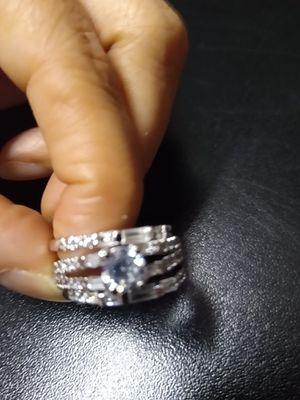 3 wedding rings in white gold plated #7. 3 anillos de boda en oro blanco laminado garantizado #7 for Sale in Nashville, TN