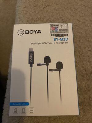 BOYA BY-M3D Omnidirectional Dual Head Lavalier Lapel Microphone Mic with 6 Meter for Sale in La Vergne, TN