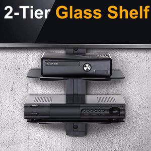 (NEW) $15 Floating 2-Tiers Wall Mounted Shelf Tempered Glass for DVD Players, Cable Boxes, Game Consoles for Sale in City of Industry, CA
