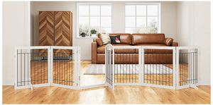 PAWLAND 144-inch Extra Wide 30-inches Tall Dog gate with Door Walk Through, Freestanding Wire Pet Gate for The House, Doorway, Stairs, Pet Puppy Safe for Sale in Bakersfield, CA