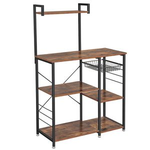 Baker's Rack, Coffee Station, Microwave Oven Stand, Kitchen Shelf with Wire Basket, 6 S-Hooks, Utility Storage for Spices, Pots, and Pans, Rustic Brow for Sale in Chino, CA