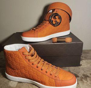 Gucci Gucissima Orange Sneakers & belt for Sale in Orem, UT