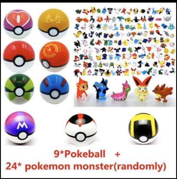 NEW 9pcs Pokemon Pokeball + 24pcs Action Figures Random Cosplay Pop-up BALL Kid Toys