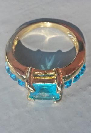 Gold Filled Princess Cut Aquamarine Ring Size 9 for Sale in Shelton, WA