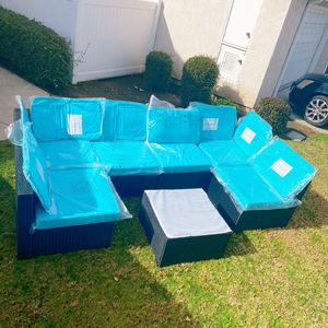 Brand New !High Quality !Assembled ! 7 Piece Outdoor PE Wicker Furniture Set, Patio Black Rattan Sectional Sofa Couch with Washable Turquoise Cushions for Sale in Hacienda Heights, CA