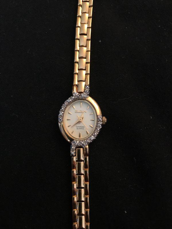 Elgin diamond quartz watch(gold)