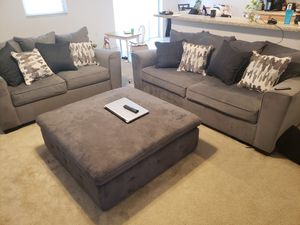2 Suede couches with ottoman for Sale in Lake Wales, FL