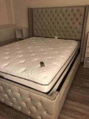 Queen Bed Frame including Queen Mattress AND Queen Adjustable Base w/ Remote (PICK UP ONLY) (PLEASE READ ENTIRE DESCRIPTION THOROUGHLY) for Sale in Waterbury, CT