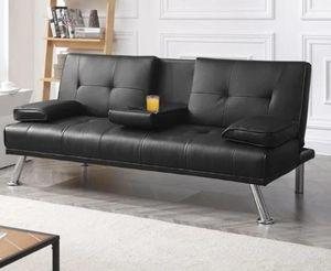 Leather jet black futon for Sale in Landover, MD