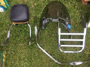 Motorcycle parts! Windshield, sissy bar, luggage rack handlebars off 2000 Honda shadow for Sale in Bensalem, PA