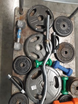OVER 150 LBS STEEL WEIGHT PLUS PRO BENCH AND DUMBELLS CURLNBAR ETC. for Sale in Virginia Beach, VA