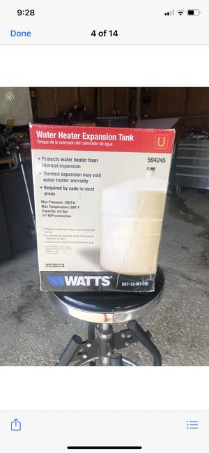 Water heater expansion tank (Watts) for Sale in Olmsted Falls, OH
