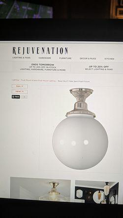 "Rejuvenation Rose City Semi Flush Lighting fixture w/ 10"" Opal Globe Shade. for Sale in Brooklyn,  NY"