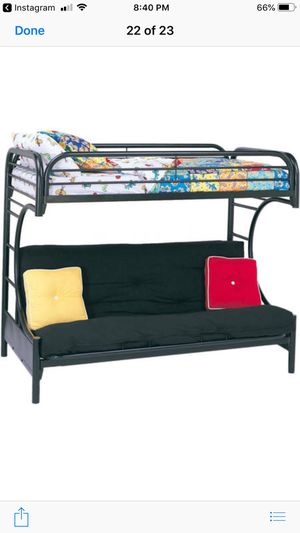 Metal loft bed with futon sofa for Sale in Bedford, VA
