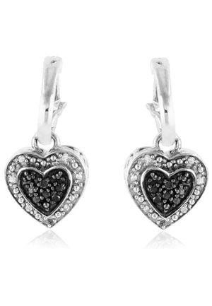 Black & white diamond heart dangle earrings for Sale in Wixom, MI