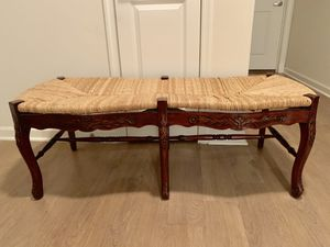 Benches (2) - basket woven and engraved wood for Sale in Arlington, VA
