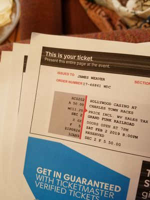 4 tickets to Grand Funk Railroad for Sale in Chambersburg, PA