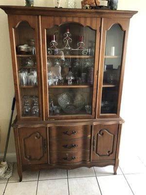 China cabinet and 2 bar stools for Sale in Austin, TX