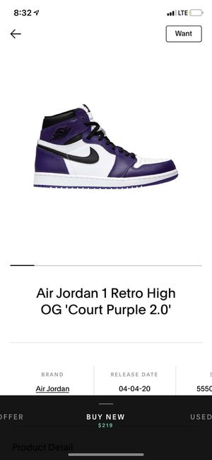 Jordan 1 court purple and bloodline royal toe for Sale in Portland, OR