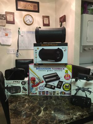 Quantum force X blue tooth speaker- E 58 pocket drone-Intellivision flashback classic console (61 built in games) dream vision Pro virtual reality . for Sale in Sacramento, CA