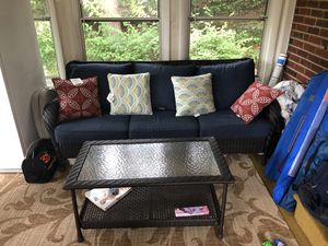 Indoor/Outdoor Wicker Sofa & Coffee Table. for Sale in Havertown, PA