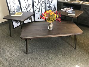 Ashley Furniture 3 Piece Coffee Table and End Table Set, Dark Brown for Sale in Garden Grove, CA