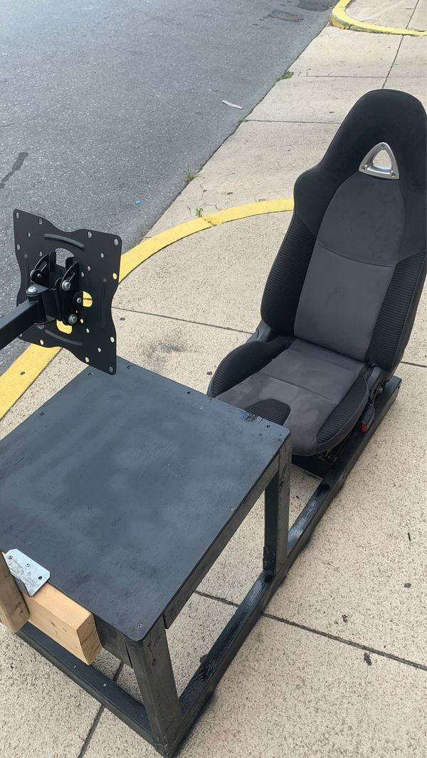 Gaming Steering Wheel Desk With TV mount