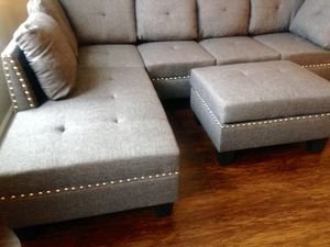 New Gray Sofa/Sectional w/Storage Ottoman for Sale in Chevy Chase, MD