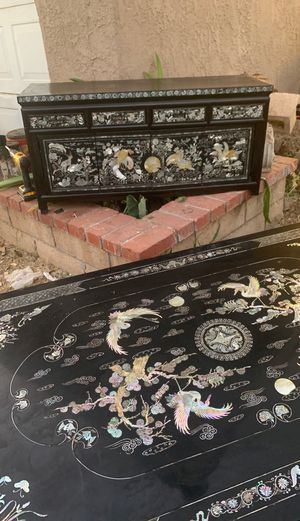 Korean black lacquer with mother of pearl inlaid. for Sale in Riverside, CA