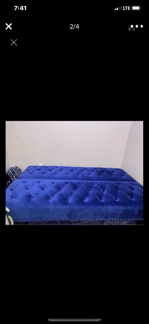 Beautiful cobalt blue futon in excellent conditions no pets no smoke nice and clean price is $275 I'm located in Fresno for Sale in Fresno, CA