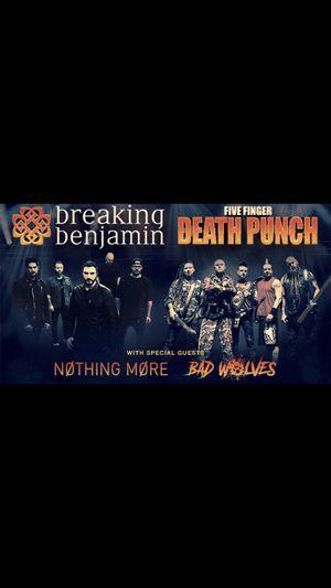 Five Finger Death Punch Breaking Benjamin tickets for Sale in Bristow, VA