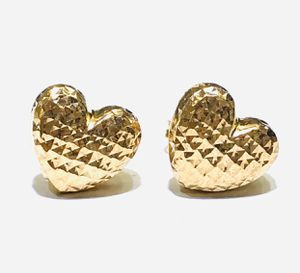14kt Gold DiamondCut Heart Earrings for Sale in Richmond, CA