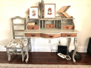 Shabby chic hardwood desk with upholstered chair for Sale in San Diego, CA