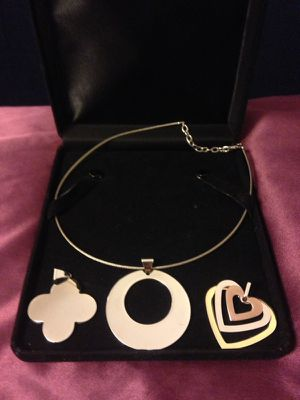 Stainless Steel Necklace Set With Three Charms for Sale in Atlanta, GA